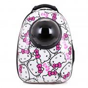 Рюкзак-переноска для животных с вентиляцией и окошком (Бело-розовый)