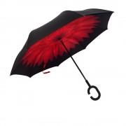 Антизонт Smart зонт наоборот Хризантема (Черно-красный)
