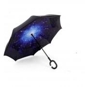 Антизонт Smart зонт наоборот Звездное небо (Черно-синий)