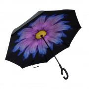 Антизонт Smart зонт наоборот Гербера (Черно-фиолетовый)