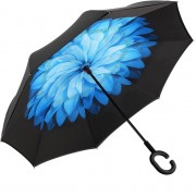 Антизонт Smart зонт наоборот Хризантема (Черно-синий)