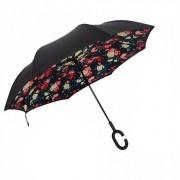 Антизонт Smart зонт наоборот Розы (Микс-черный)