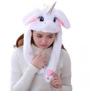 Шапка Единорог Движущиеся уши (Белая)