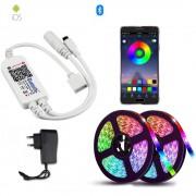 Светодиодная Bluetooth лента цветная (RGB) Led smd 5050 10m с блоком питания, пультом и Bluetooth, управление через приложение со смартфона (Микс)
