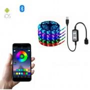 Светодиодная Bluetooth Лента цветная (RGB) led smd 2 метра с usb контроллером, управление через приложение со смартфона (Микс)