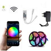 Светодиодная Wifi лента цветная (RGB) Led smd 5050 10m с блоком питания, пультом и Wifi, управление через приложение со смартфона (Микс)