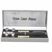 Лазерная указка Green Laser Pointer 8420 дальность луча до 3 км ярко-зеленый 5 в 1 (Черный)