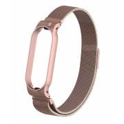 Металлический ремешок Milanese для Mi Band 5 (Розовое золото)