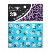 Наклейки на ногти 3D/T-275 для маникюра 3 шт. (Голубой с белыми снежинками)