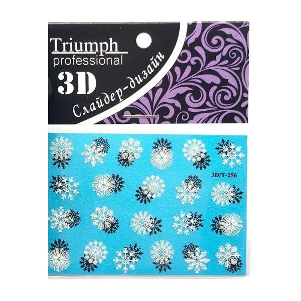 Наклейки на ногти 3D/T-256 для маникюра 3 шт. (Голубой с черно-белыми снежинками)