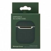 Силиконовый чехол для наушников AirPods 2 Silicone Case темно-зеленый