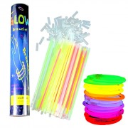 Люминесцентные гибкие палочки браслеты светящиеся в темноте 100 шт (Разноцветный)