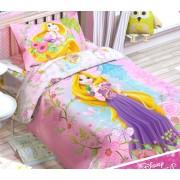 Комплект постельного белья 100% хлопок Принцесса Рапунцель 1,5 спальное