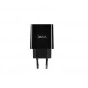 Сетевое зарядное устройство Hoco C25A LED 2 USB с кабелем для IPhone (Черный)