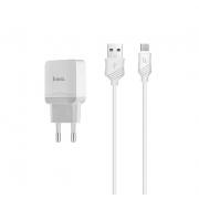 Сетевое зарядное устройство Hoco C22A с кабелем Micro Usb (Белый)