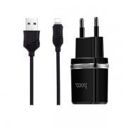 Сетевое зарядное устройство Hoco C12 2.4A с кабелем Lightning для iPhone (Черный)