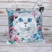 Подушка антистресс с двухсторонними пайетками Котик разный рисунок