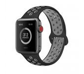 Ремешок спортивный для часов Apple Watch Band 38 40 (Черно-серый)