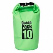 Сумка на пляж непромокаемая, водонепроницаемая объем 10 литров (Зеленая)