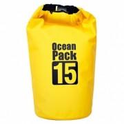 Сумка на пляж непромокаемая, водонепроницаемая объем 15 литров (Желтая)