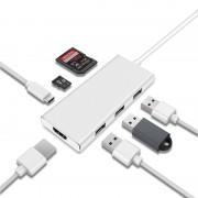 Многопортовый Хаб адаптер 7 в 1 для MacBook USB 3.0, HDMI, Type-C, CD & TF Card (Серебристый)
