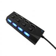 USB-концентратор USB-хаб JC-401 4 usb портов с выключателем (Черный)
