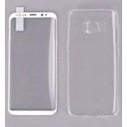 Защитное стекло и чехол REMAX Crystal для Samsung S8 (Белый)