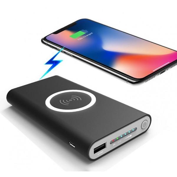 Беспроводной Qi PowerBank Wireless 10000 мАч с функцией беспроводной собственной зарядки внешнее зарядное устройство (Черный)