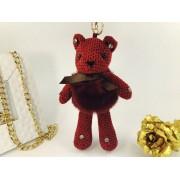 Брелок Мишка в платьице из натурального меха (Бордовый)