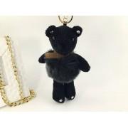 Брелок Мишка в платьице из натурального меха (Черный)