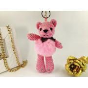 Брелок Мишка в платьице из натурального меха (Розовый)