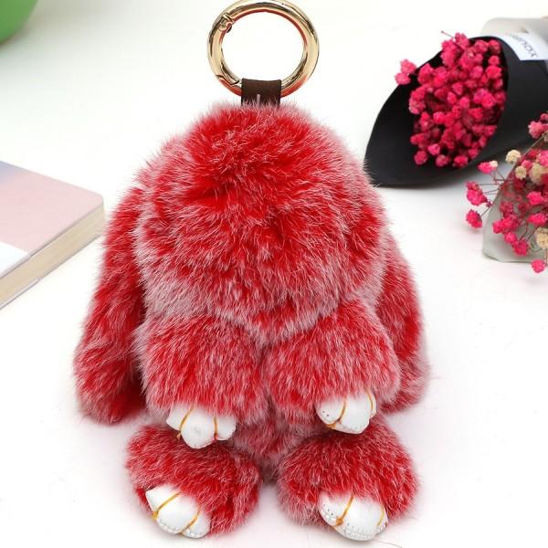 Брелок Зайка с Ресничками Меховой (Красный)
