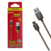 Дата кабель Awei CL-27 Micro USB в металлической оплетке 30см (золотистый)