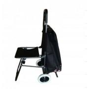Сумка-тележка с откидным сиденьем и одинарными колесами (Черный)