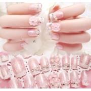 Ногти накладные с белым узором (розовый)