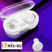 Беспроводные Bluetooth наушники S100 TWS LED дисплей (Белый)