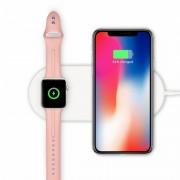 Беспроводное зарядное устройство 2 в 1 Mini AirPower Wireless Charger для iPhone 8/8 Plus, iPhone X, iWatch (Белый)