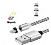 Магнитный круглый кабель для зарядки устройств 3 в 1 Micro, Type C, Lightning (Серебро)