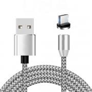 Магнитный круглый кабель для зарядки устройств Micro (Серебро)