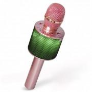 Беспроводной караоке-микрофон D03 с колонкой и LED-подсветкой (золотой)