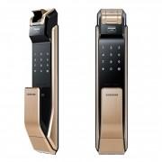 Врезной биометрический замок Samsung SHS-P718 XBG, EN (золотистый)