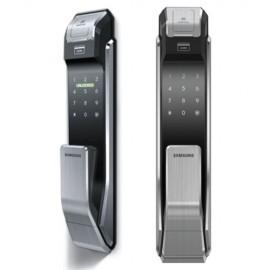 Врезной биометрический замок Samsung SHS-P718 от себя XBK, EN (Темный металлик)