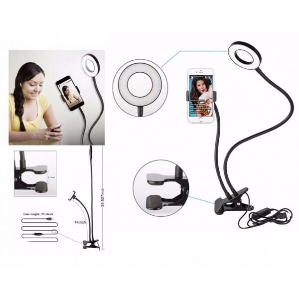 Кольцевая лампа для селфи с гибким держателем для телефона на прищепке (Черный)
