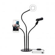 Гибкий держатель для телефона и микрофона с кольцевой лампой 3 в 1 (Черный)