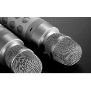 Беспроводной Bluetooth караоке микрофон с колонкой X602 (Серебристый)