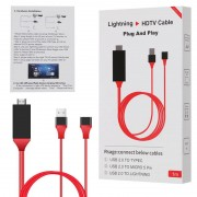 Кабель-адаптер HDMI AV Lightening, Micro 5 Pin, Type-C Plug & Play Phone HDTV Cable 2m (красный)