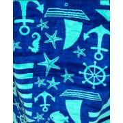 Полотенце велюр Oeko-Tex Sel Home Якори 75х150см (синий)