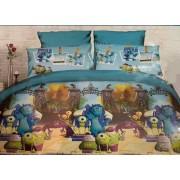 Детский комплект постельного белья Cartoon Home Textile сатин Монстры1,5 сп (синий)