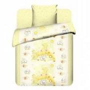Детский комплект постельного белья Василиса Юниор хлопок Плюшевые зайки 3976 (желтый)