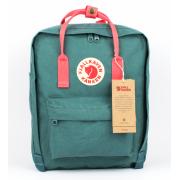 Рюкзак Fjallraven Kanken Classic Bag с розовыми ручками (Зеленый)